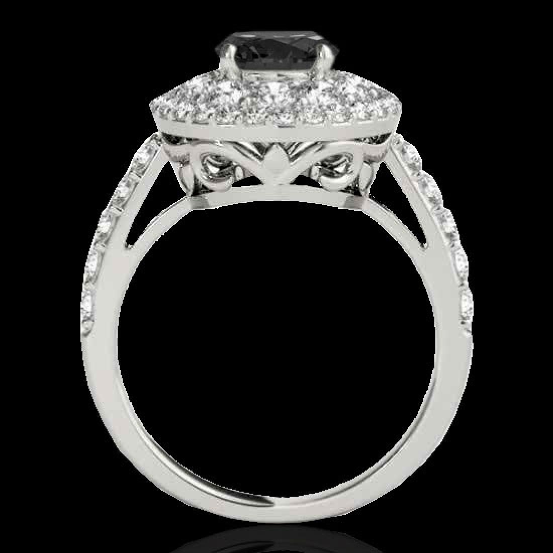 2.09 CTW Certified VS Black Diamond Solitaire Halo Ring - 2