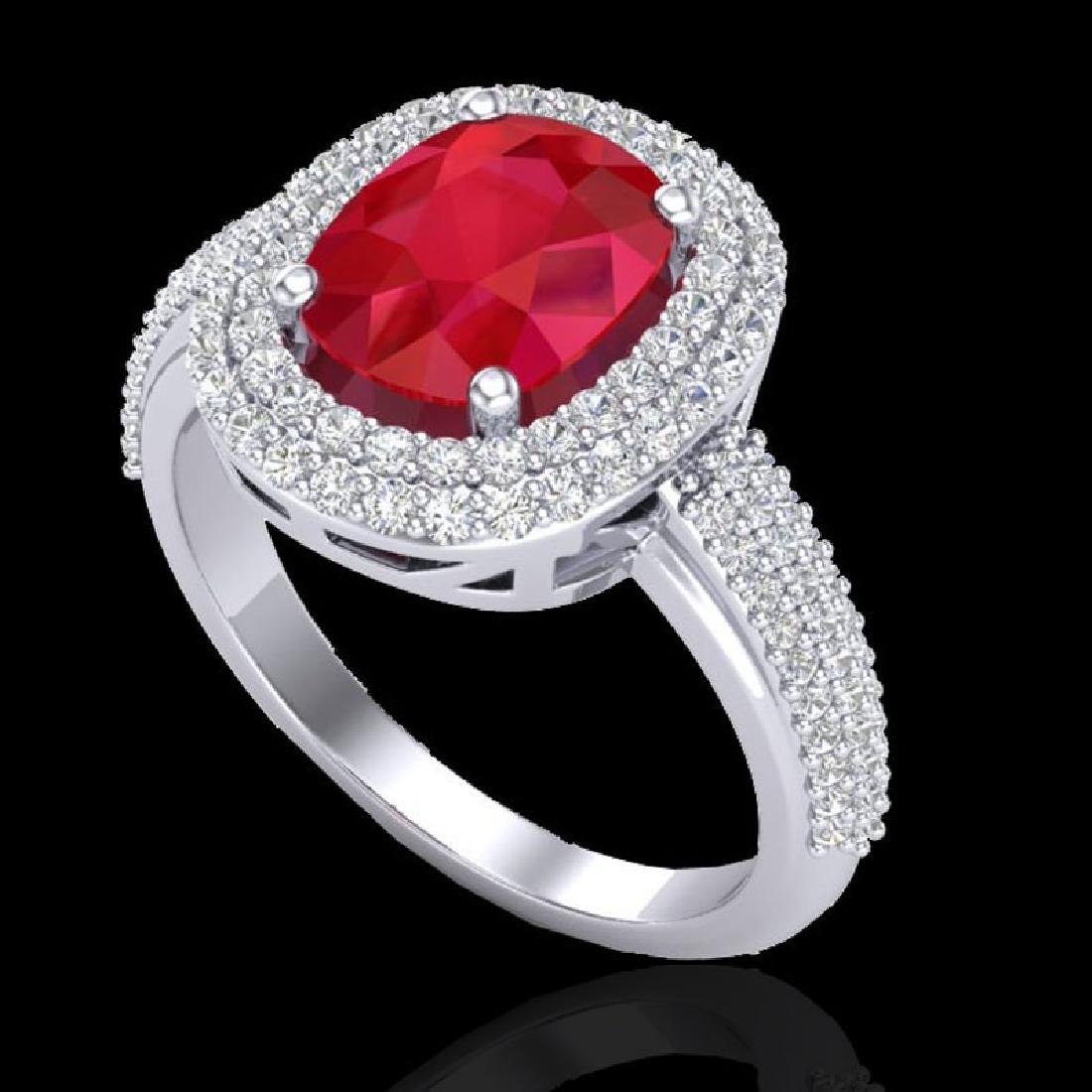 3.50 CTW Ruby & Micro Pave VS/SI Diamond Halo Ring 18K - 2