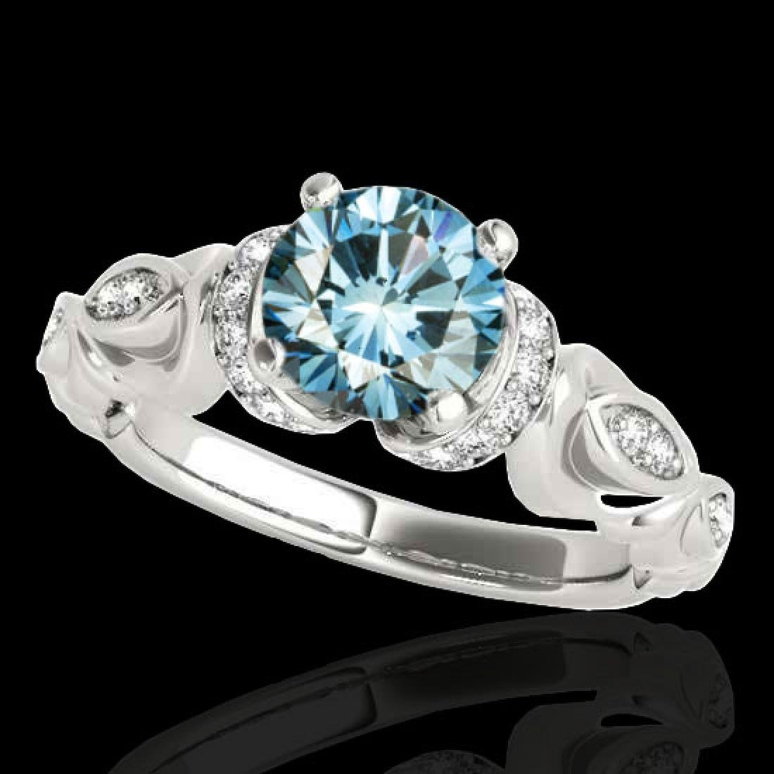 1.2 CTW SI Certified Fancy Blue Diamond Solitaire