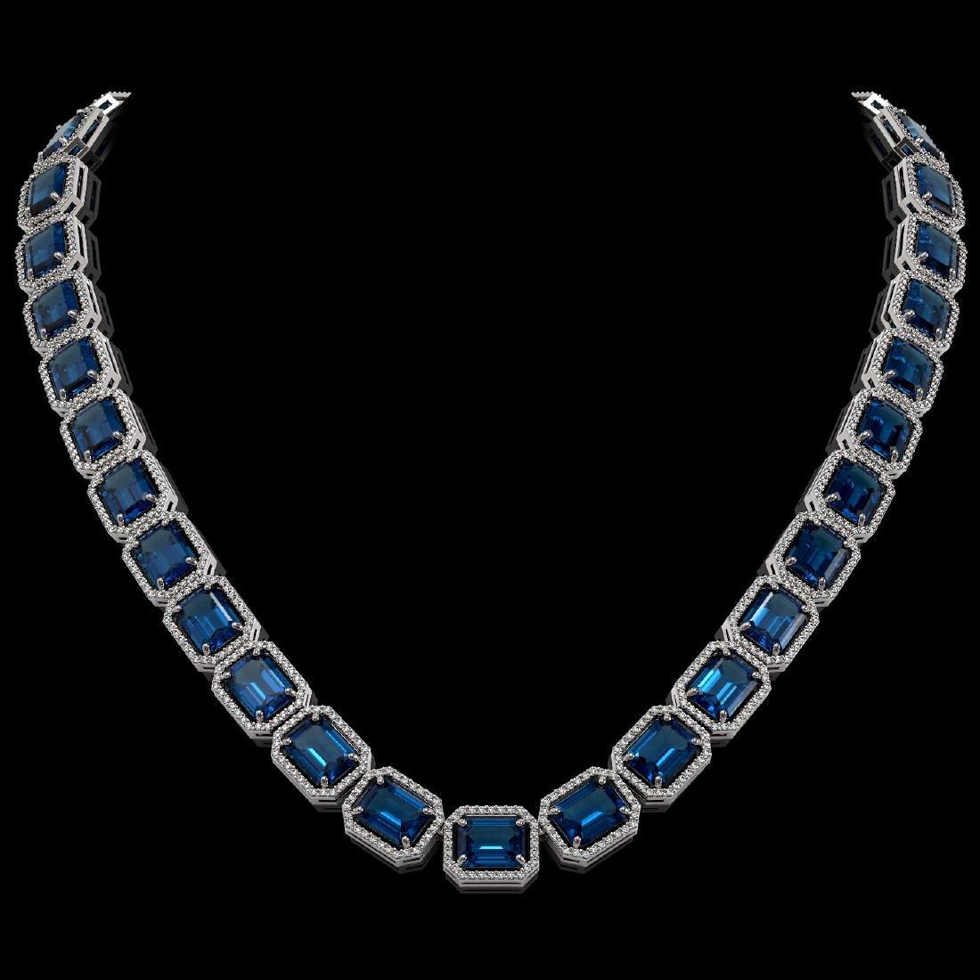 79.66 CTW London Topaz & Diamond Halo Necklace 10K