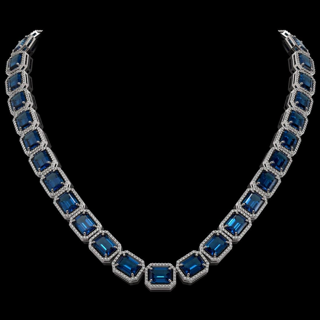 79.66 CTW London Topaz & Diamond Halo Necklace 10K