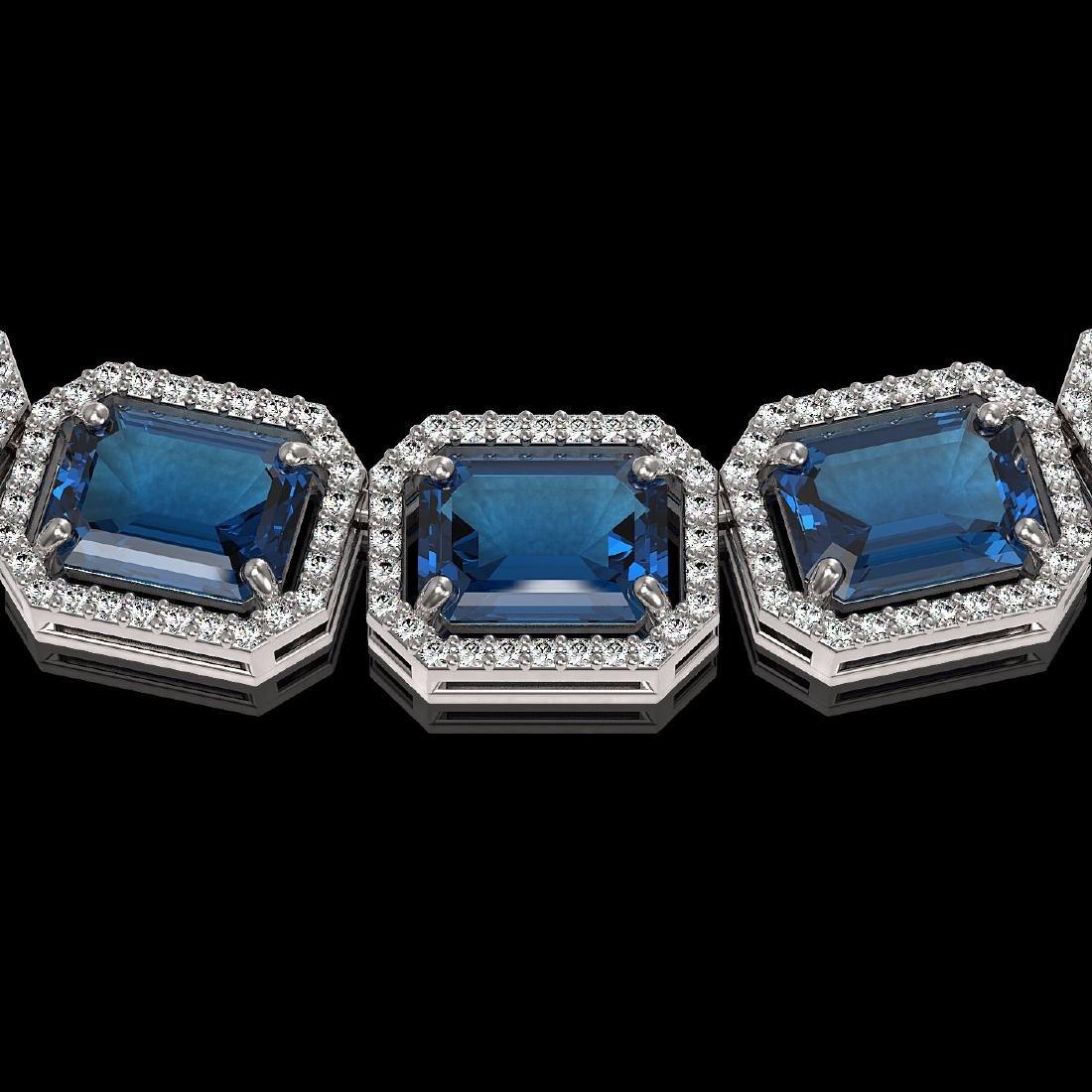 79.66 CTW London Topaz & Diamond Halo Necklace 10K - 2