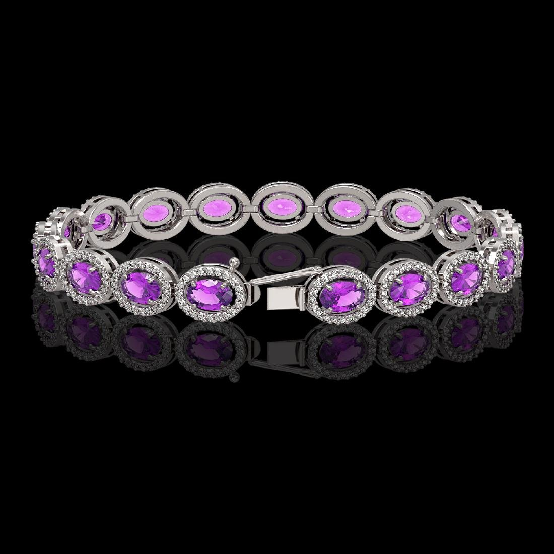13.11 CTW Amethyst & Diamond Halo Bracelet 10K White - 2