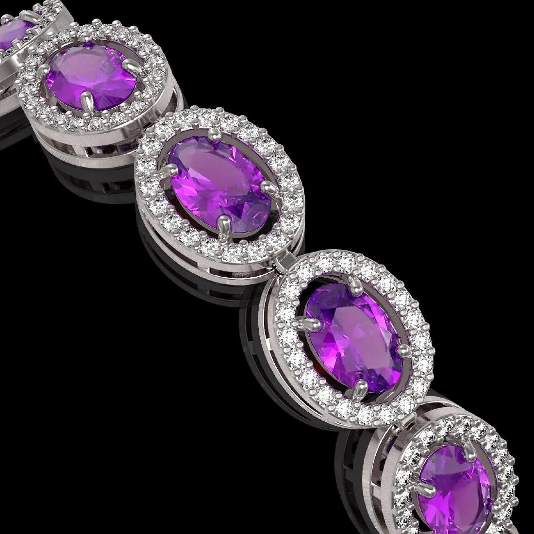 13.11 CTW Amethyst & Diamond Halo Bracelet 10K White - 3