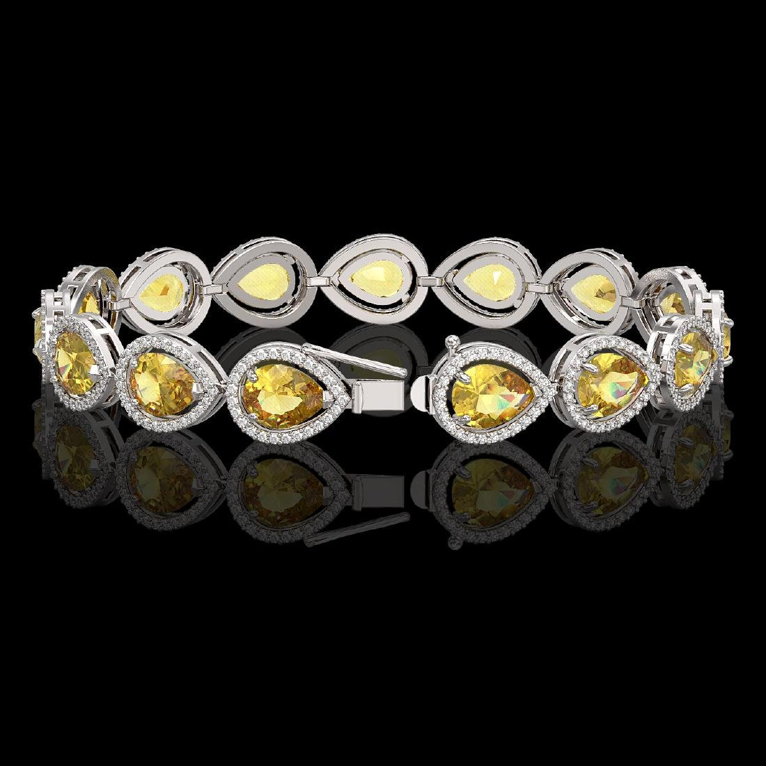 17.3 CTW Fancy Citrine & Diamond Halo Bracelet 10K - 2