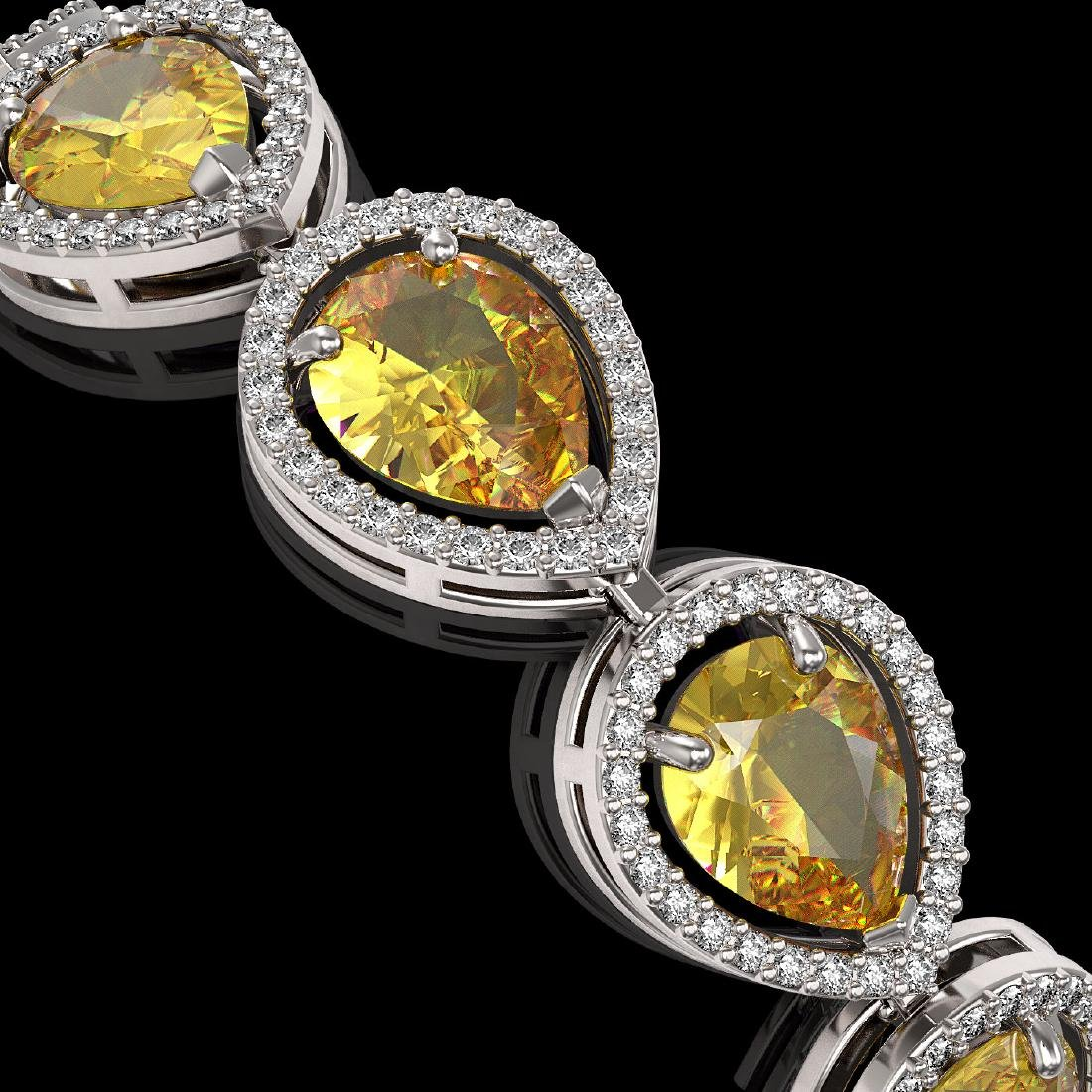 17.3 CTW Fancy Citrine & Diamond Halo Bracelet 10K - 3