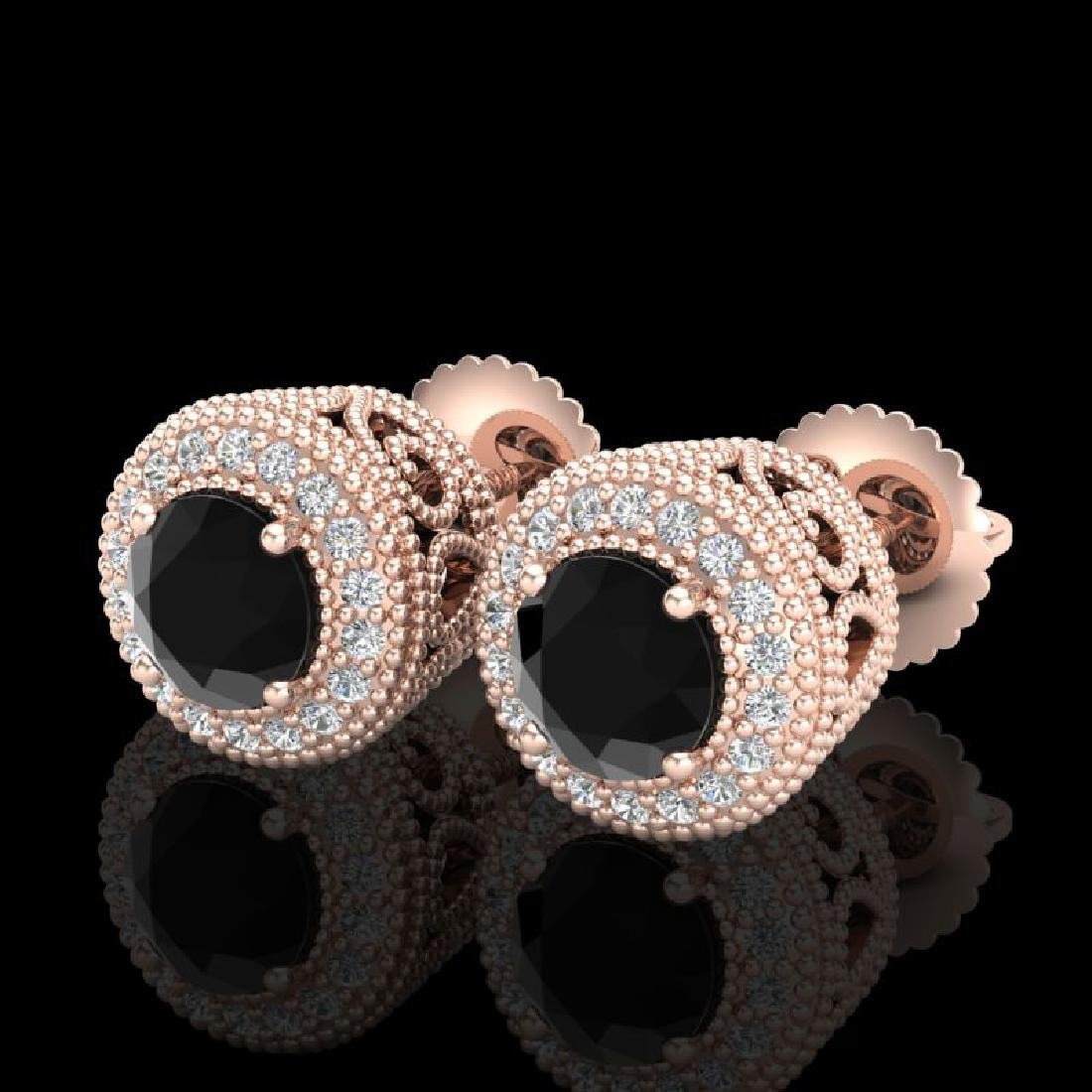 1.55 CTW Fancy Black Diamond Solitaire Art Deco Stud