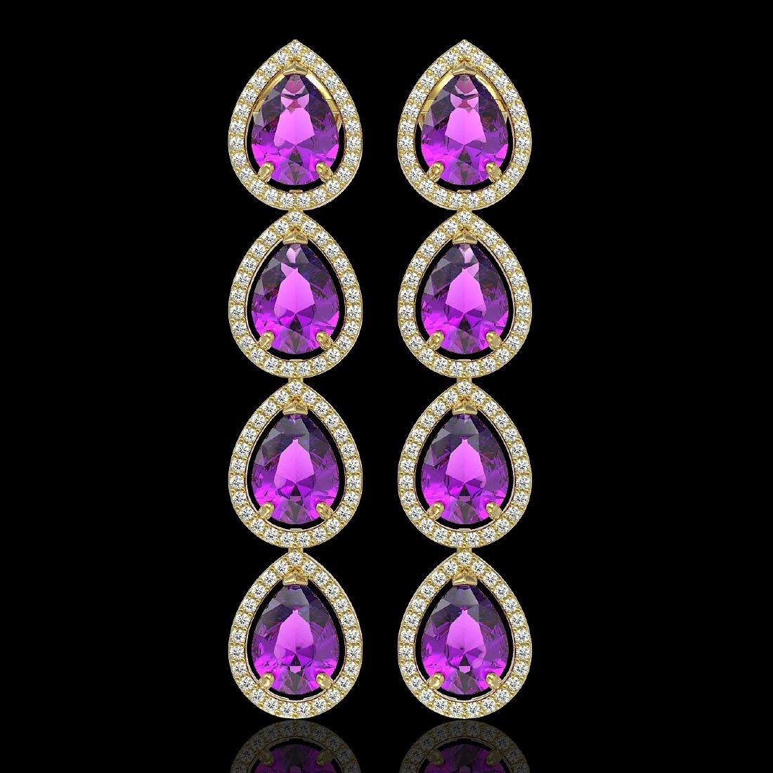 10.85 CTW Amethyst & Diamond Halo Earrings 10K Yellow