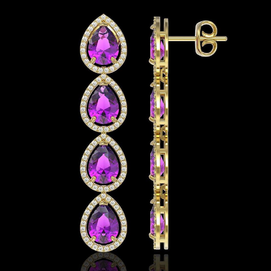 10.85 CTW Amethyst & Diamond Halo Earrings 10K Yellow - 2