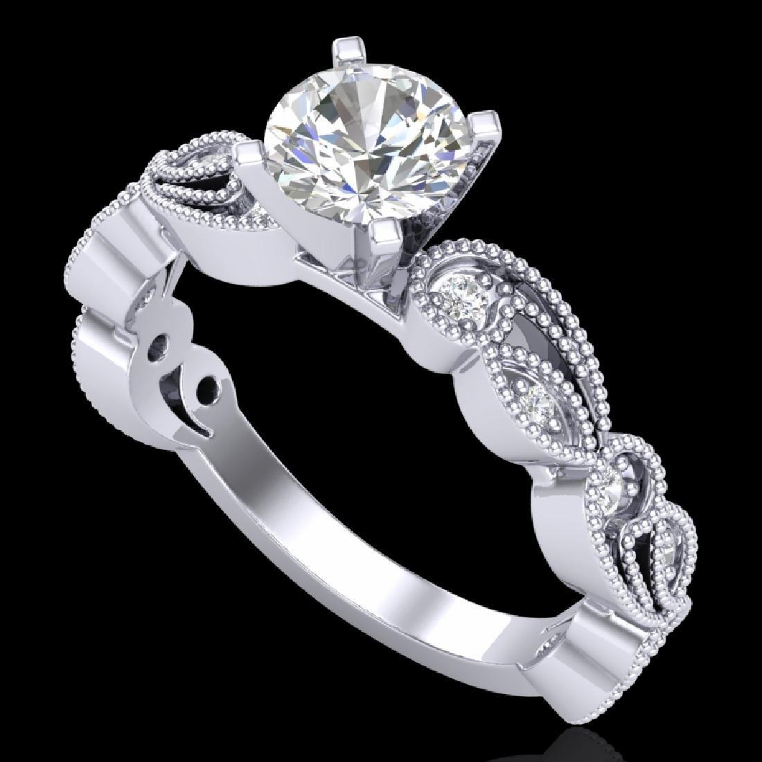 1.01 CTW VS/SI Diamond Solitaire Art Deco Ring 18K