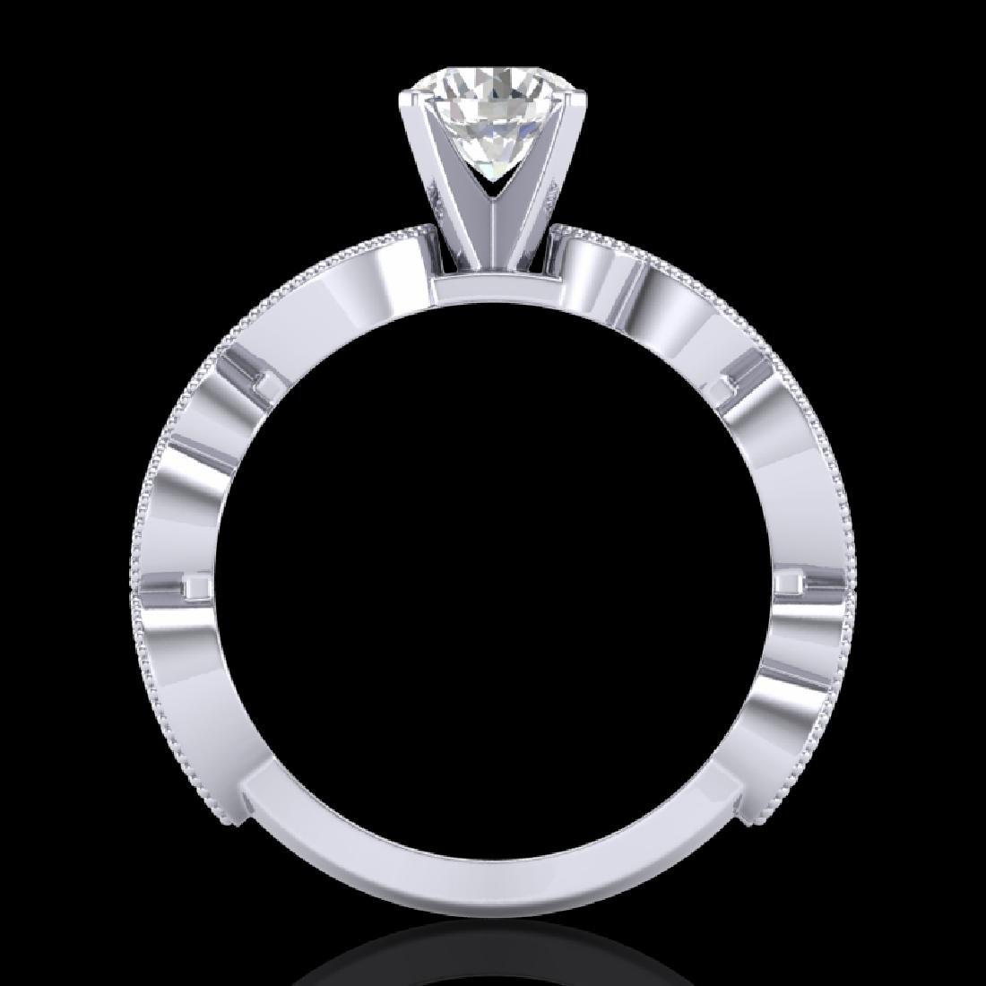 1.01 CTW VS/SI Diamond Solitaire Art Deco Ring 18K - 2