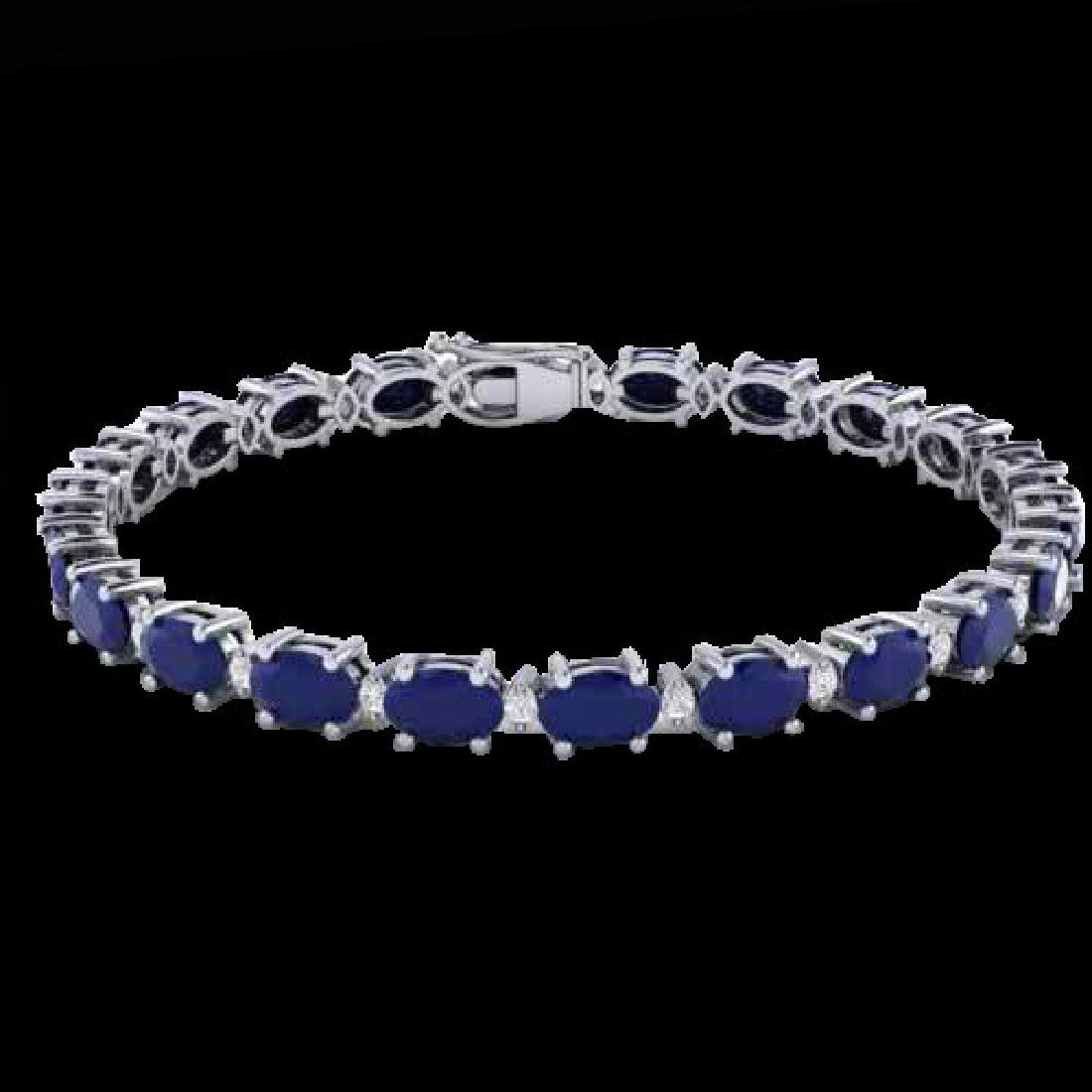 15 CTW Sapphire & VS/SI Diamond Eternity Bracelet 10K - 2