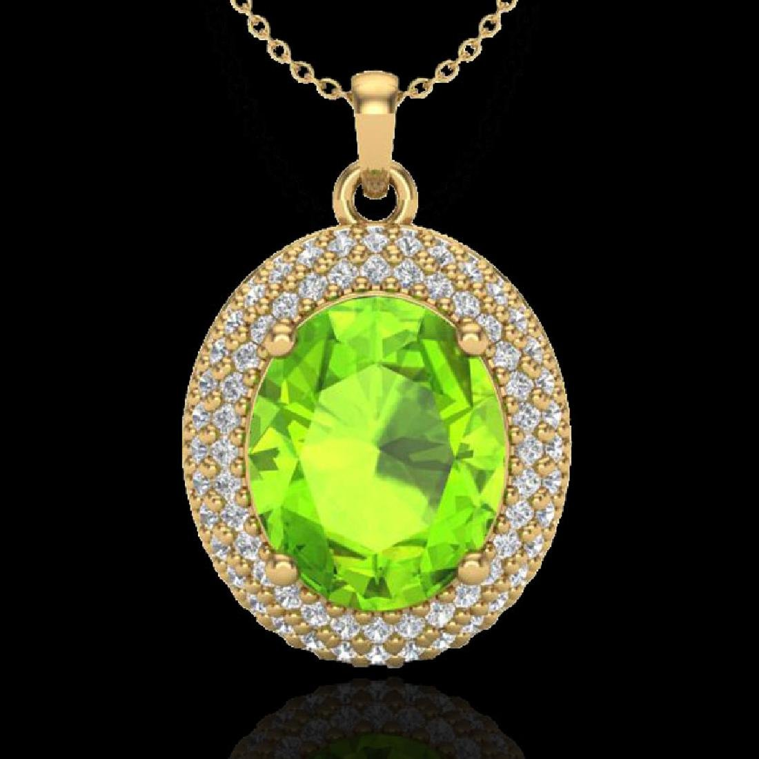 4.50 CTW Peridot & Micro Pave VS/SI Diamond Necklace