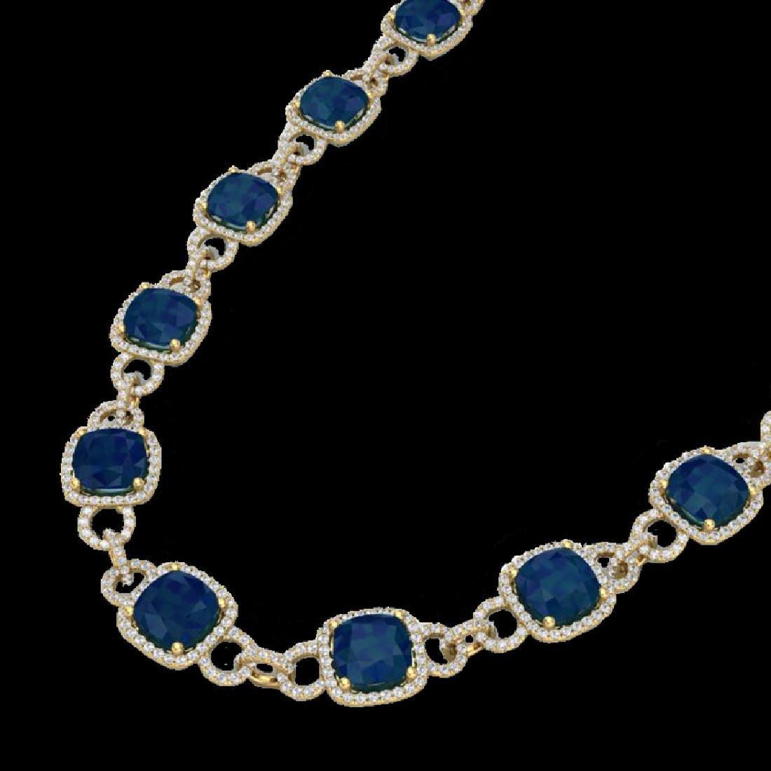 56 CTW Sapphire & Micro VS/SI Diamond Eternity Necklace