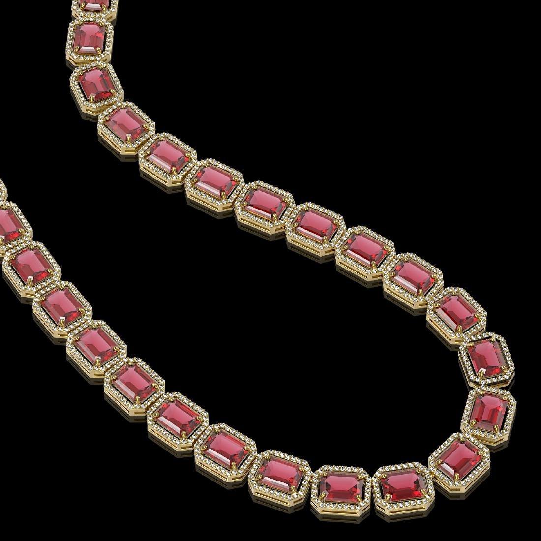 80.32 CTW Tourmaline & Diamond Halo Necklace 10K Yellow - 2