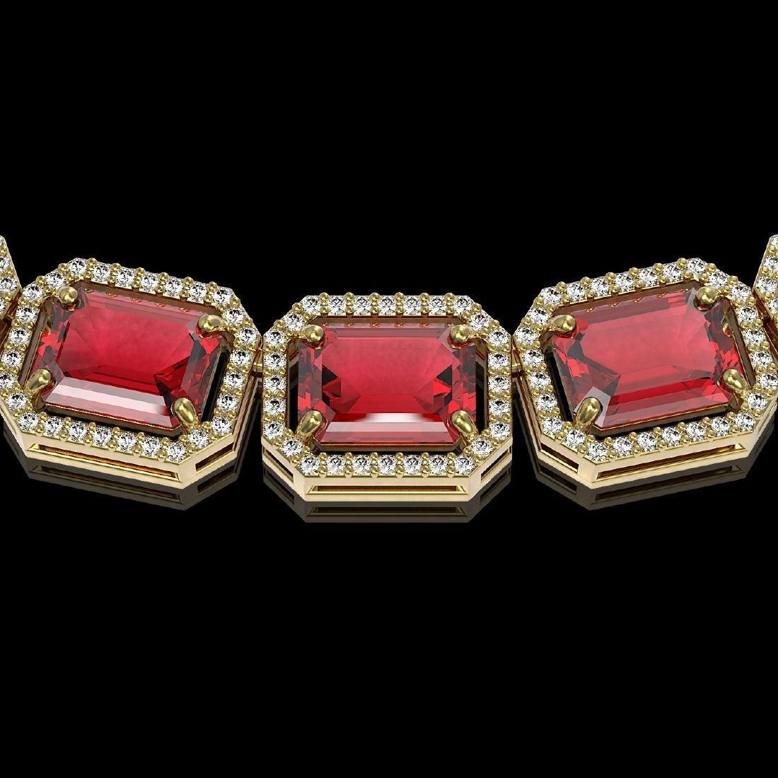 80.32 CTW Tourmaline & Diamond Halo Necklace 10K Yellow - 3