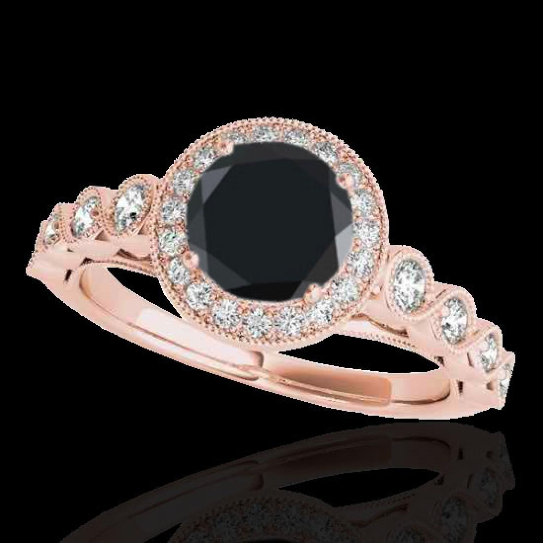 1.93 CTW Certified VS Black Diamond Solitaire Halo Ring