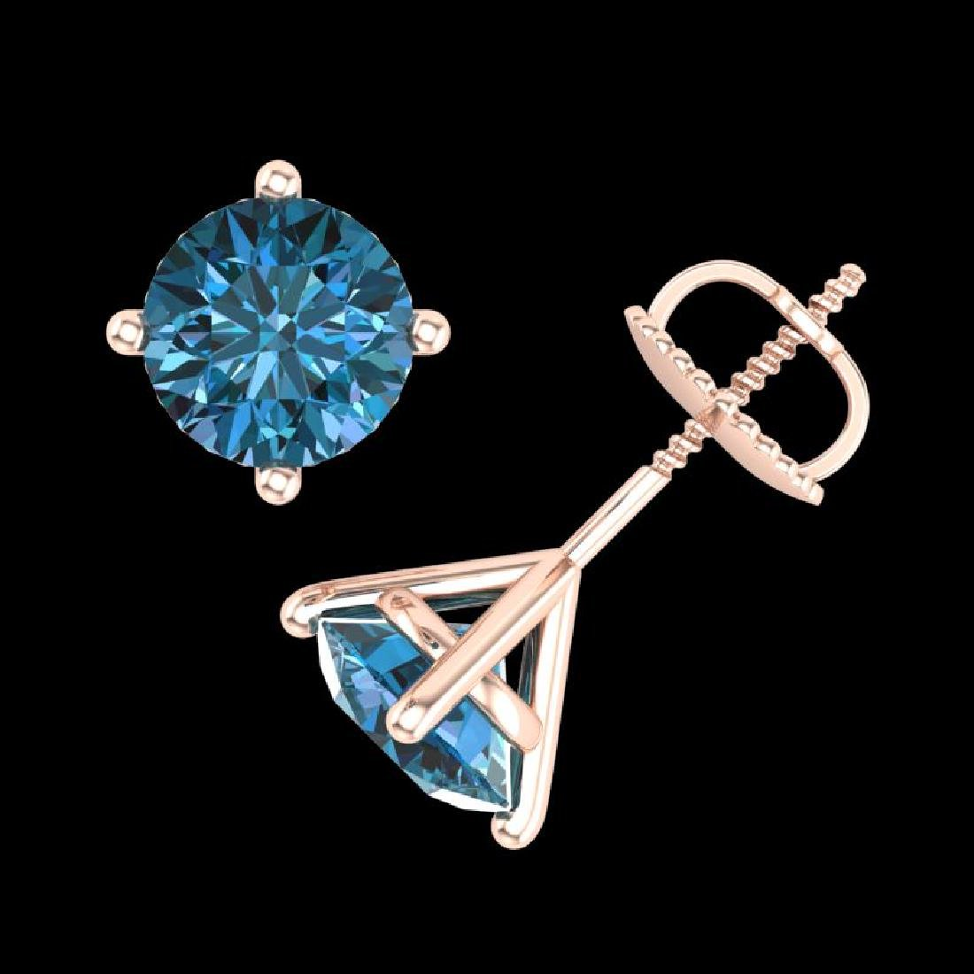2 CTW Fancy Intense Blue Diamond Solitaire Art Deco - 3