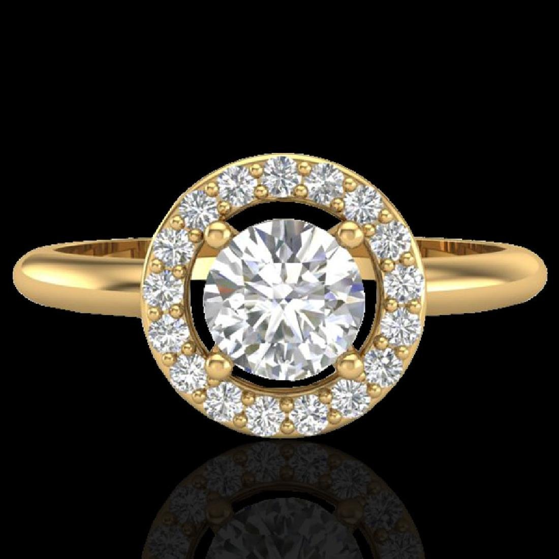 0.75 CTW Micro Pave Halo Solitaire VS/SI Diamond Ring