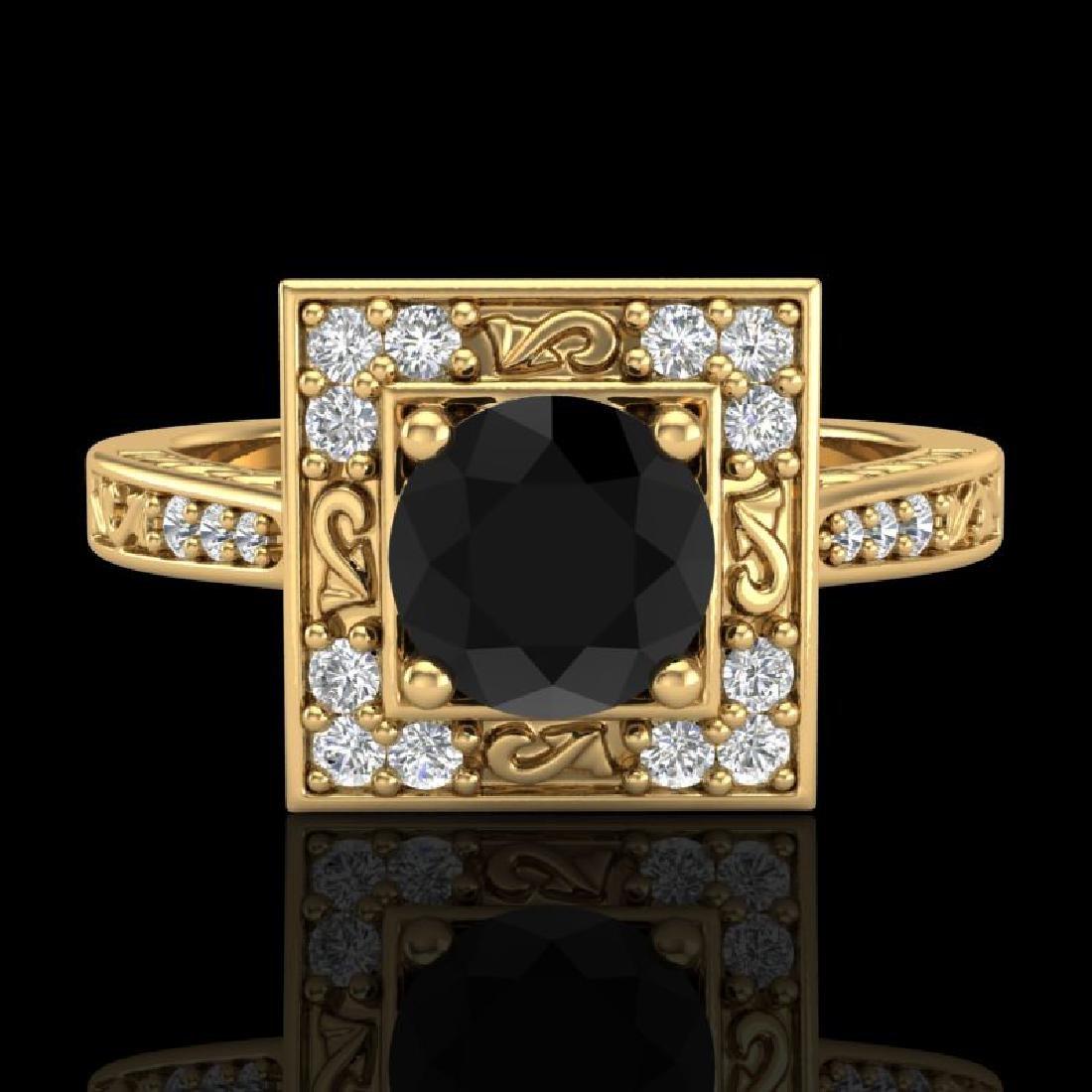 1.1 CTW Fancy Black Diamond Solitaire Engagement Art - 2
