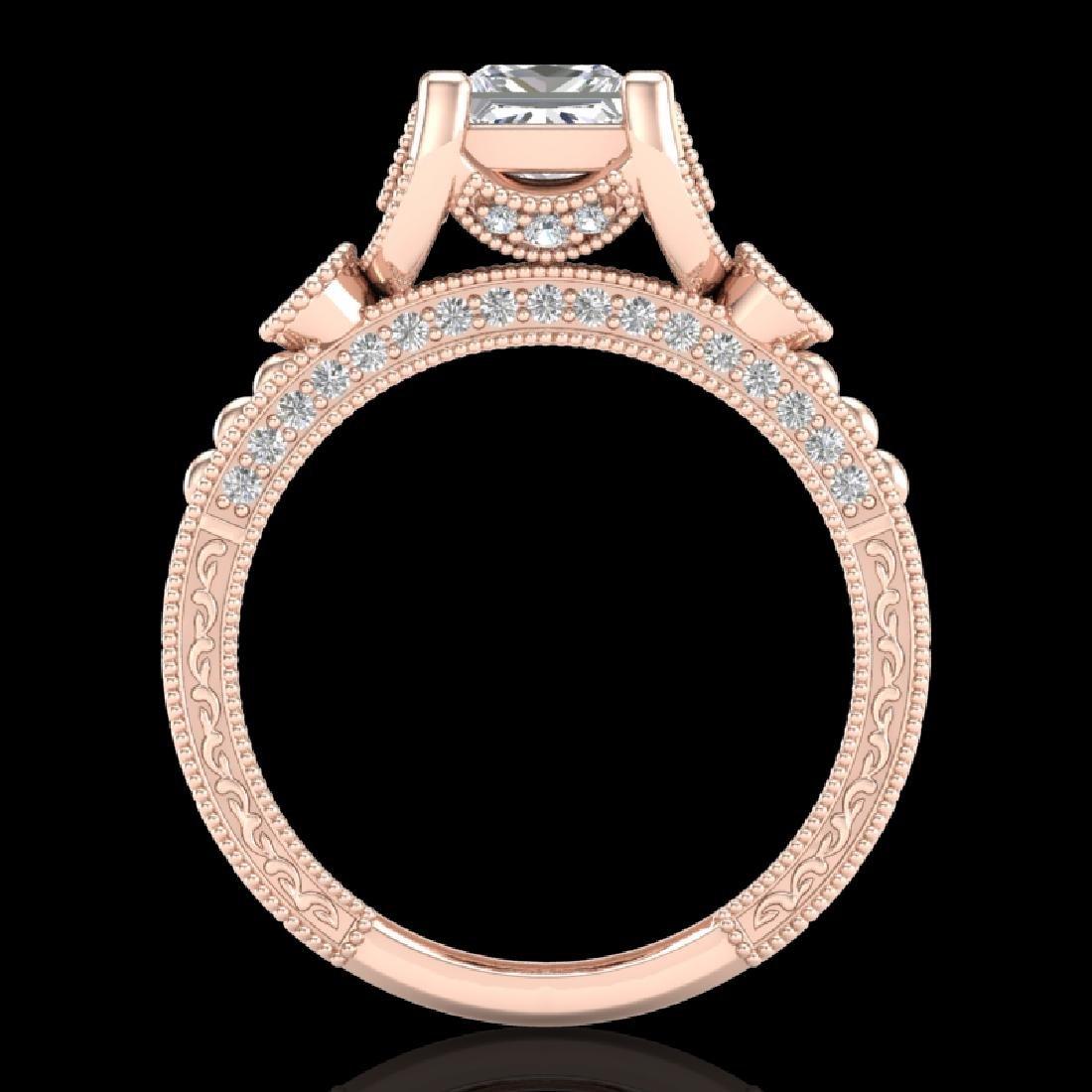 1.75 CTW Princess VS/SI Diamond Art Deco Ring 18K Rose