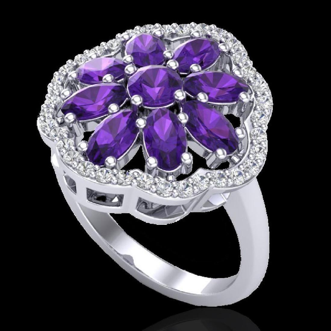 3 CTW Amethyst & VS/SI Diamond Cluster Designer Halo