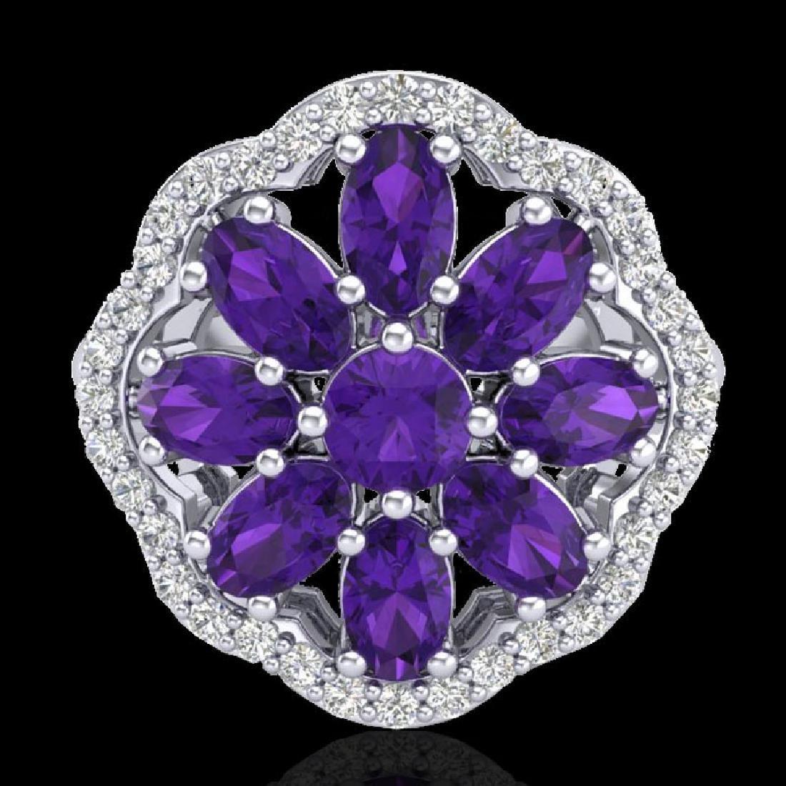 3 CTW Amethyst & VS/SI Diamond Cluster Designer Halo - 2