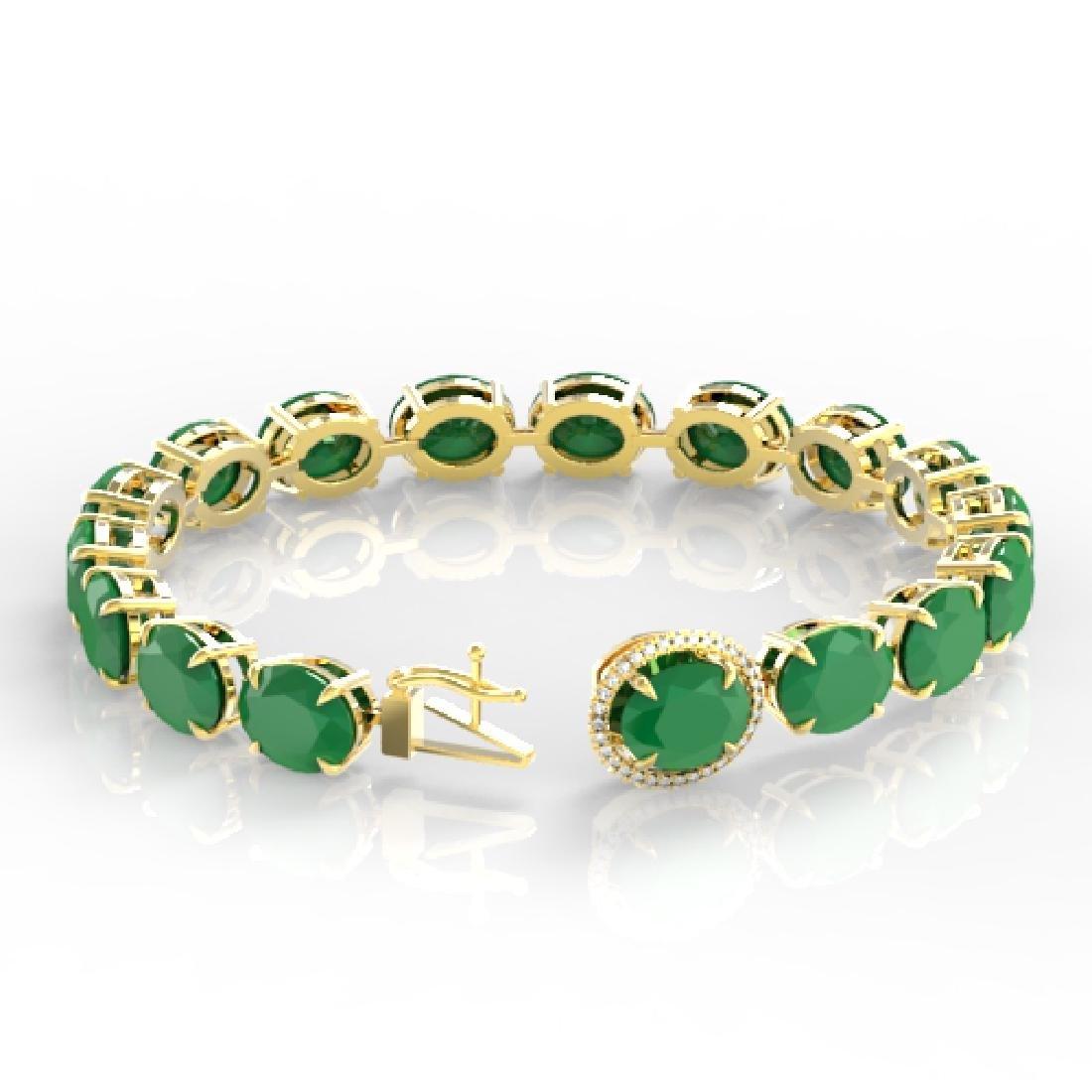 76 CTW Emerald & Micro Pave VS/SI Diamond Halo Bracelet - 3