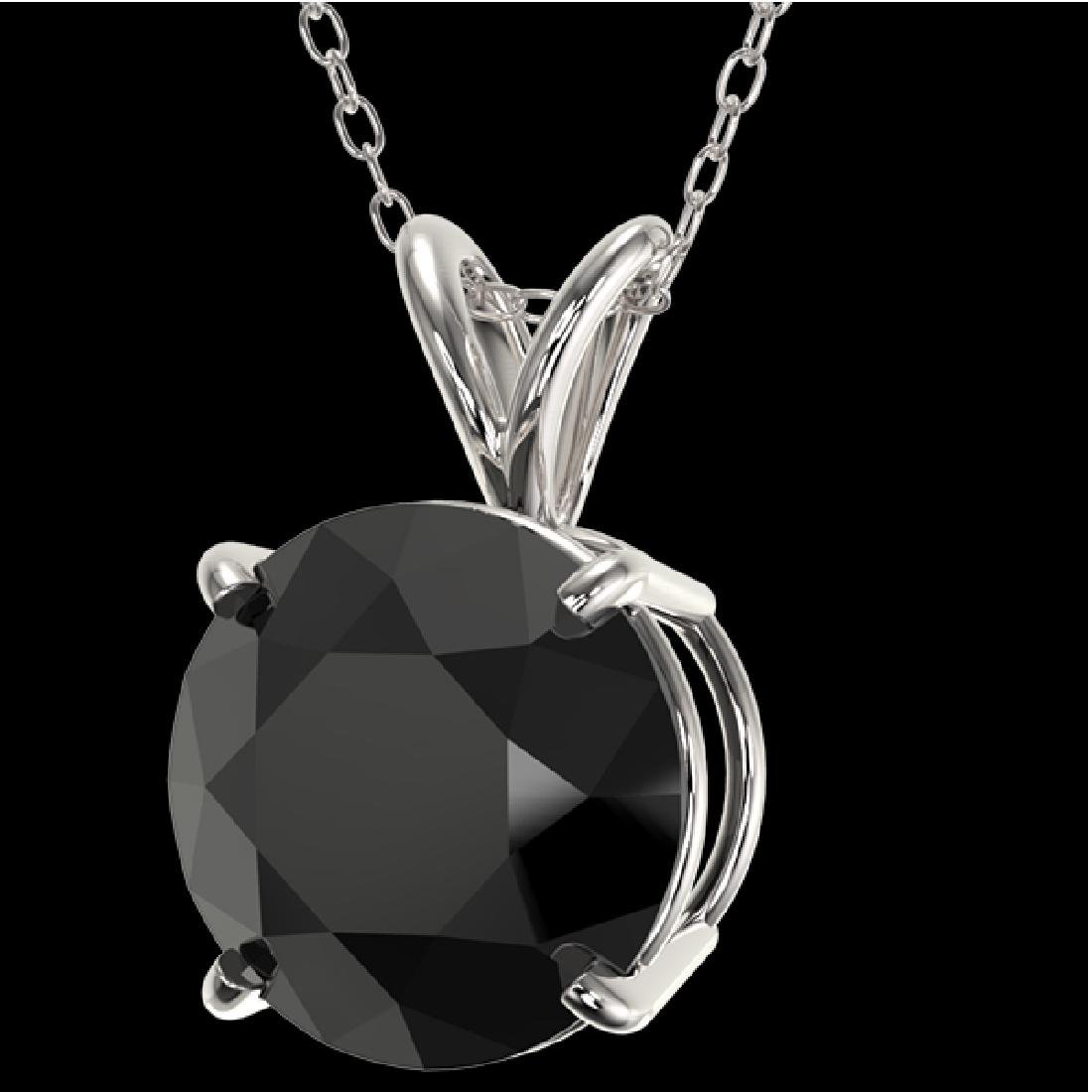 2.58 CTW Fancy Black VS Diamond Solitaire Necklace 10K - 2