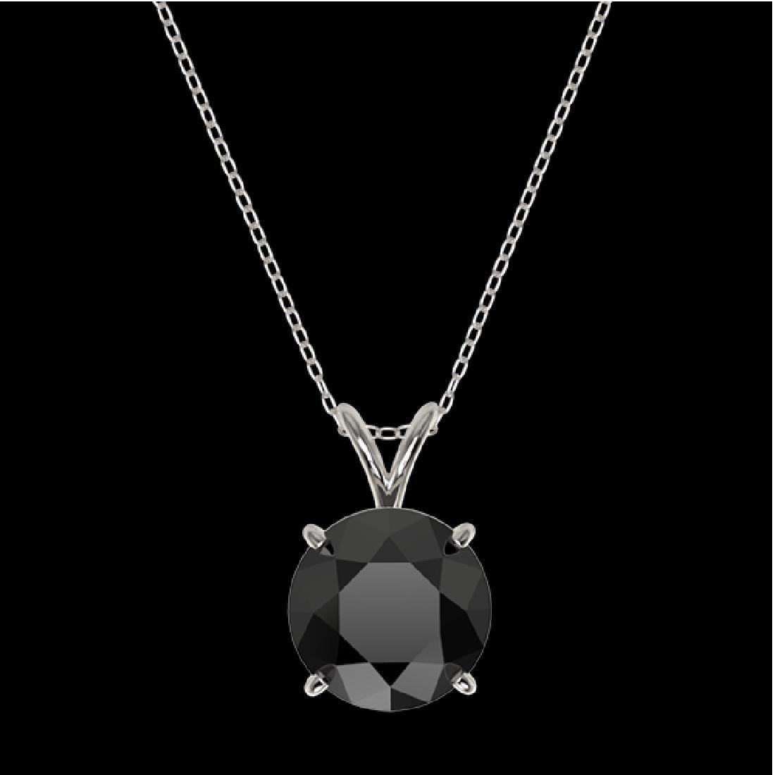 2.58 CTW Fancy Black VS Diamond Solitaire Necklace 10K - 3