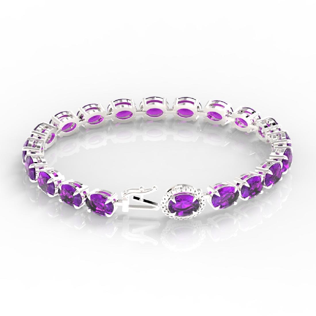 29 CTW Amethyst & VS/SI Diamond Tennis Micro Pave Halo - 3