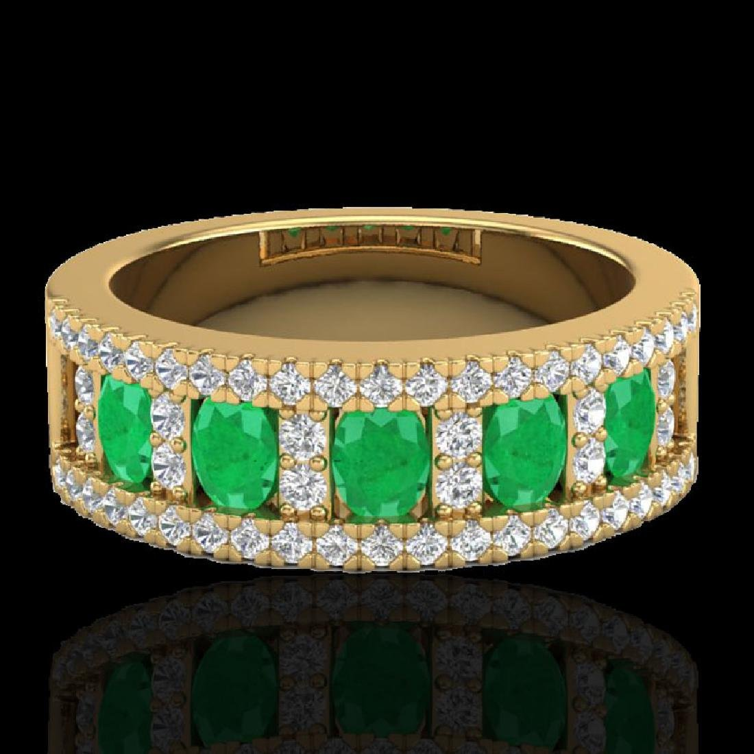 2.34 CTW Emerald & Micro Pave VS/SI Diamond Designer