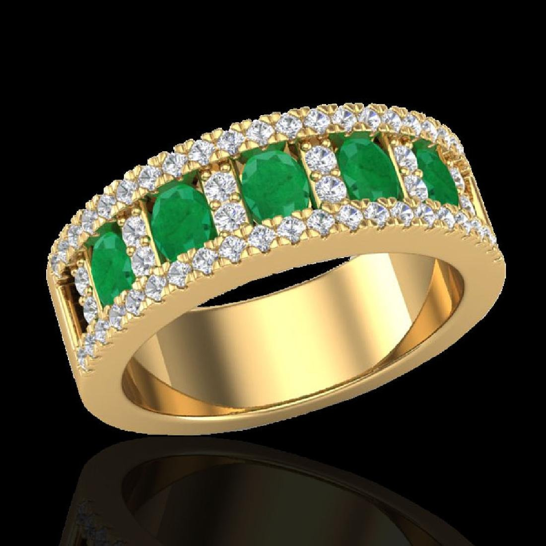 2.34 CTW Emerald & Micro Pave VS/SI Diamond Designer - 2