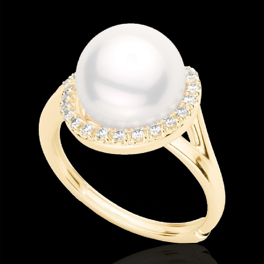 0.27 CTW VS/SI Diamond & White Pearl Designer Ring 18K - 2