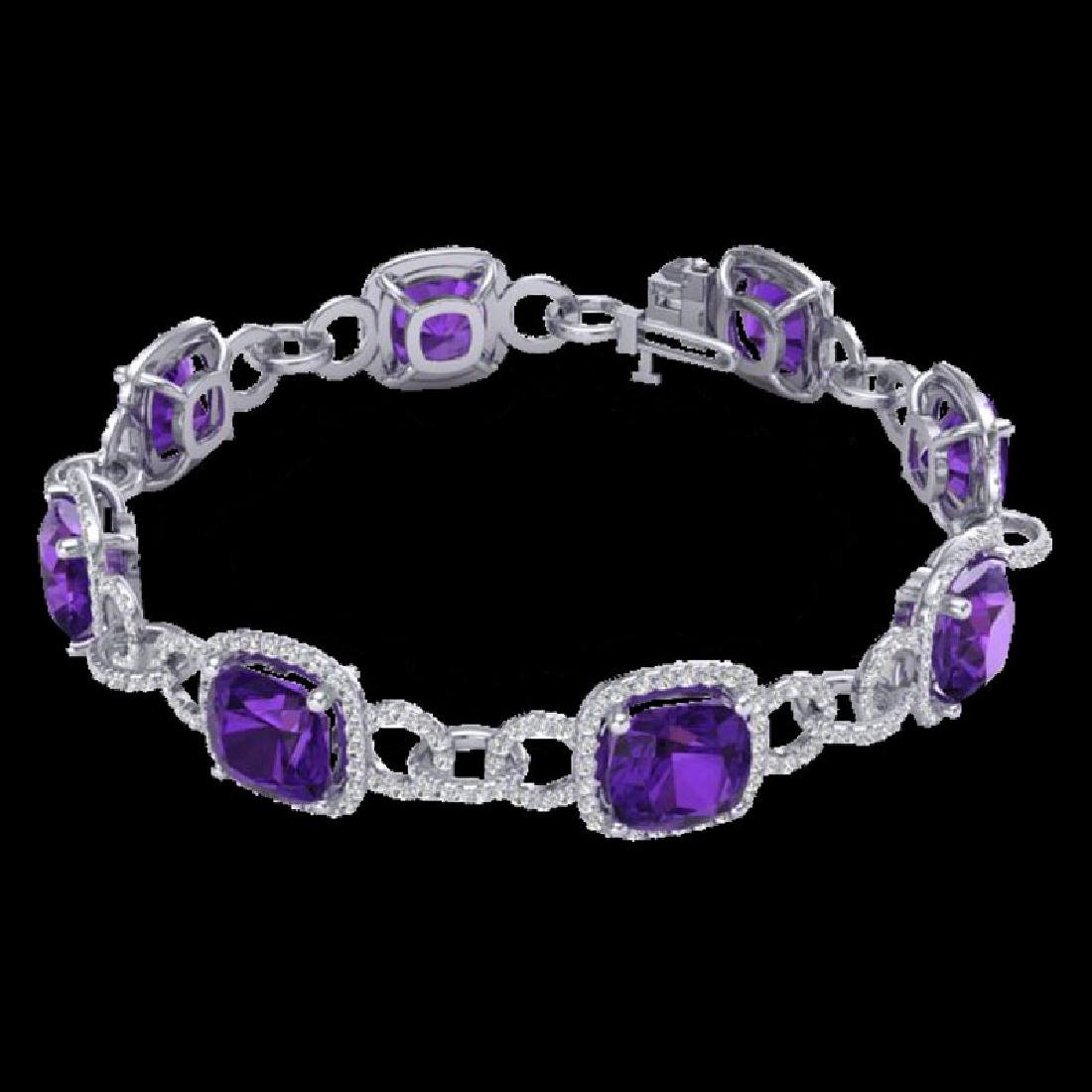 30 CTW Amethyst & Micro VS/SI Diamond Bracelet 14K - 2