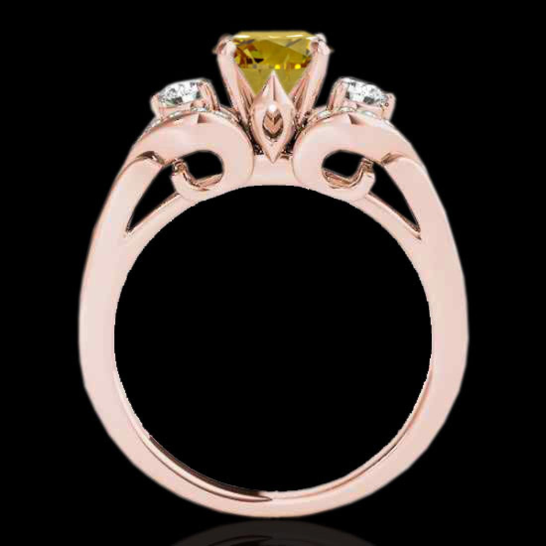 1.7 CTW Certified Si Intense Yellow Diamond 3 Stone - 2