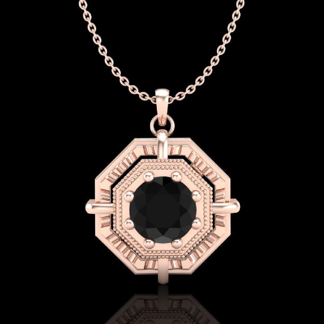 0.75 CTW Fancy Black Diamond Solitaire Art Deco Stud