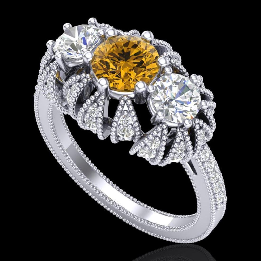 2.26 CTW Intense Fancy Yellow Diamond Art Deco 3 Stone