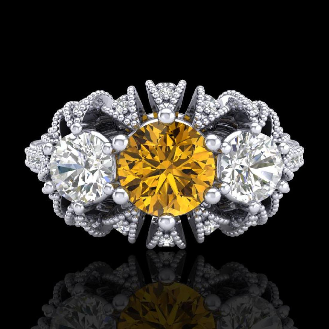2.26 CTW Intense Fancy Yellow Diamond Art Deco 3 Stone - 2