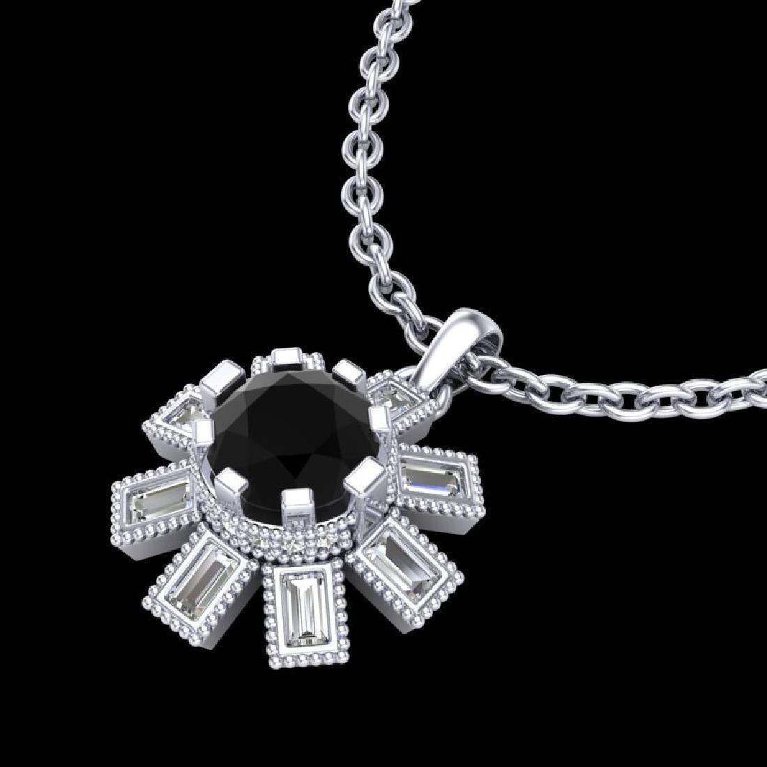 1.33 CTW Fancy Black Diamond Solitaire Art Deco Stud - 2