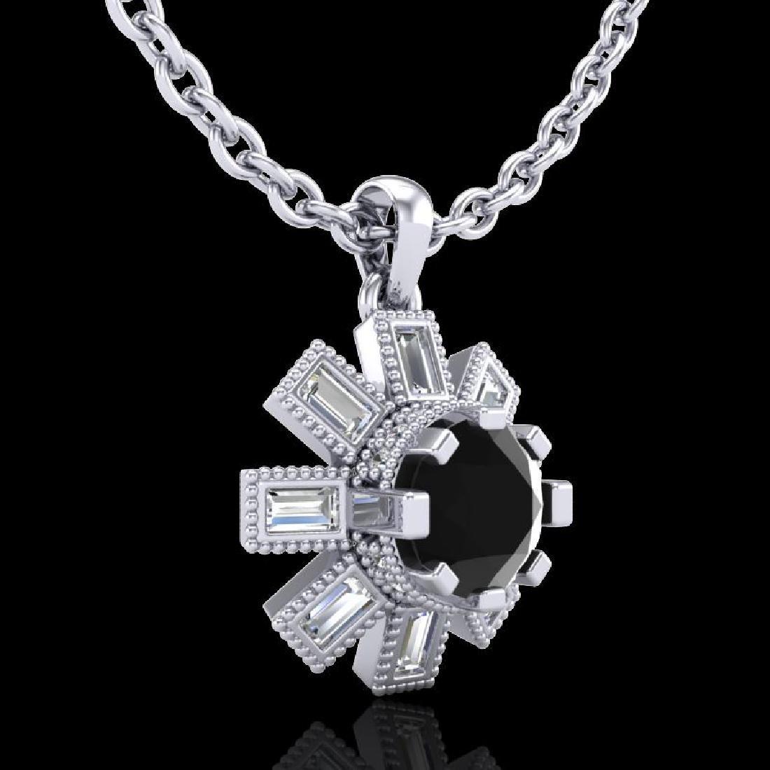 1.33 CTW Fancy Black Diamond Solitaire Art Deco Stud - 3