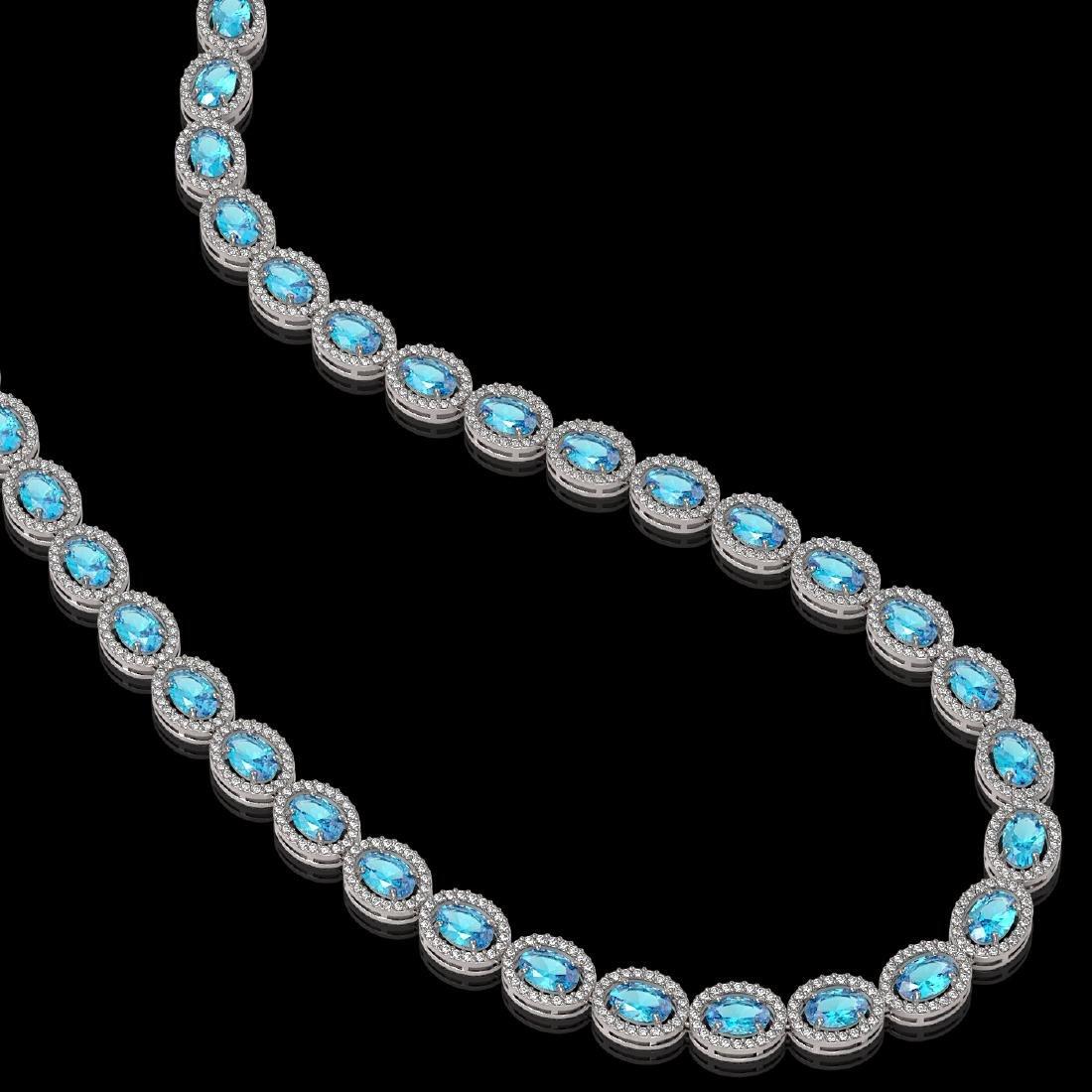 33.25 CTW Swiss Topaz & Diamond Halo Necklace 10K White - 2