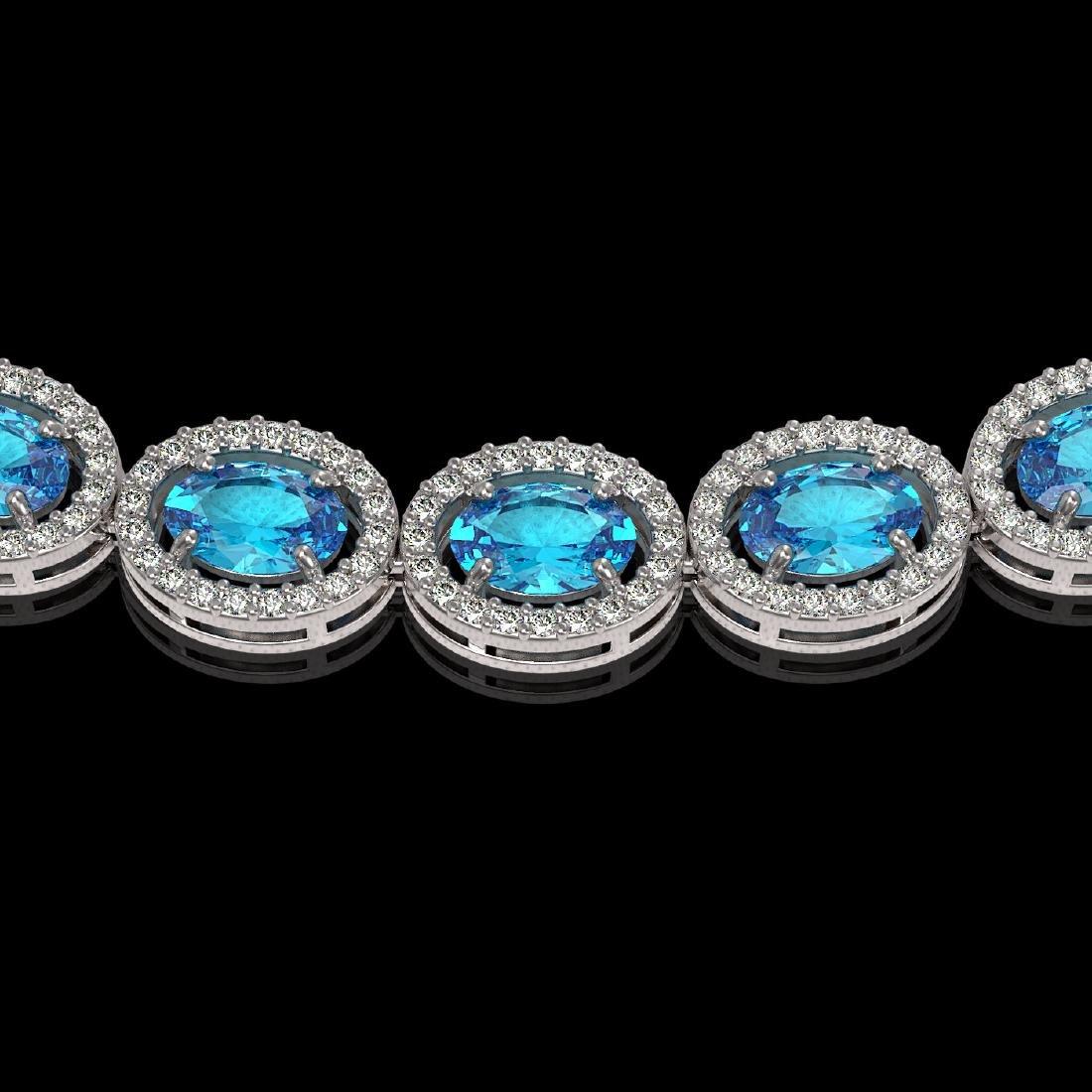 33.25 CTW Swiss Topaz & Diamond Halo Necklace 10K White - 3