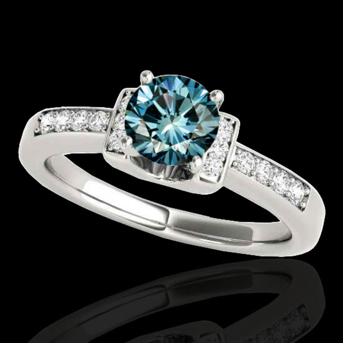 1.11 CTW SI Certified Fancy Blue Diamond Solitaire Ring