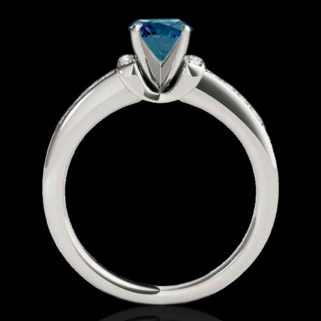 1.11 CTW SI Certified Fancy Blue Diamond Solitaire Ring - 2