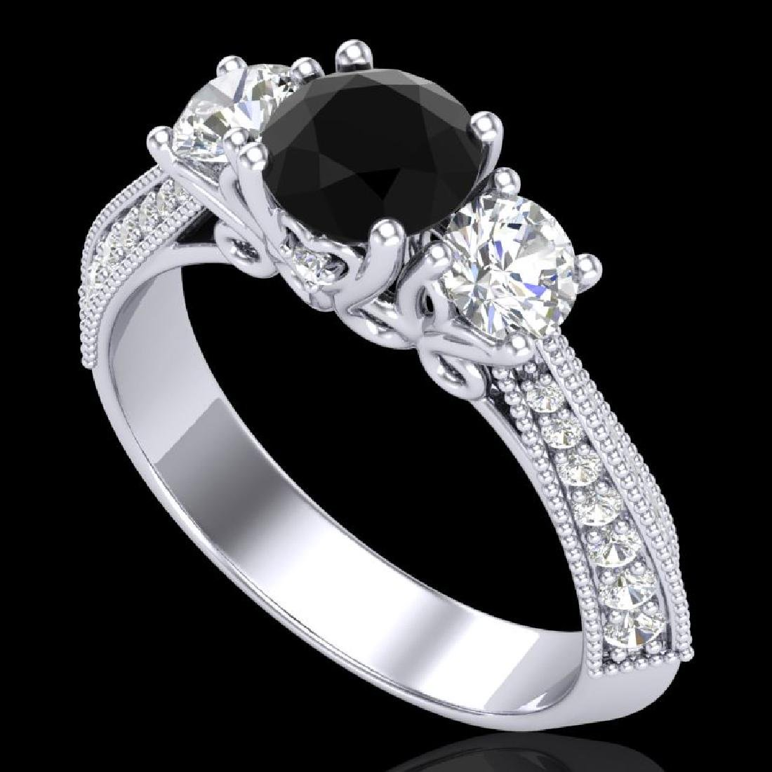 1.81 CTW Fancy Black Diamond Solitaire Art Deco 3 Stone
