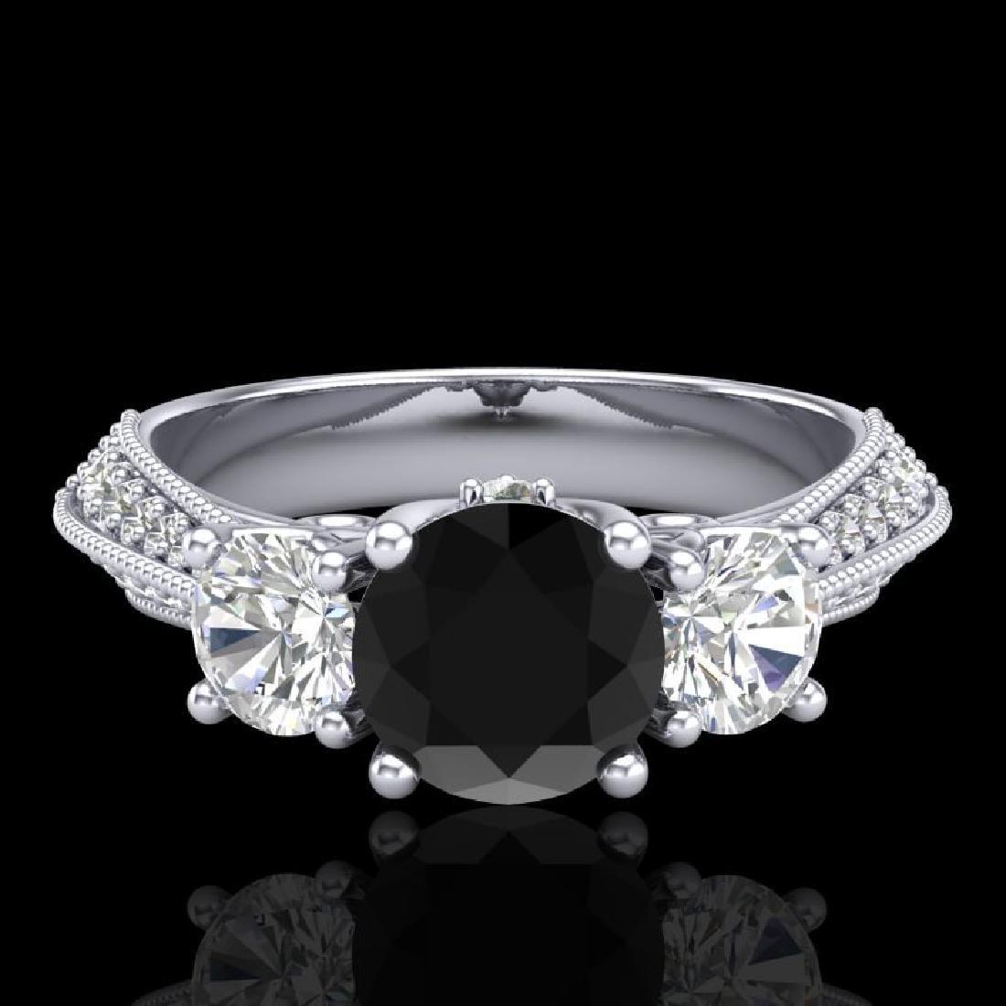 1.81 CTW Fancy Black Diamond Solitaire Art Deco 3 Stone - 2