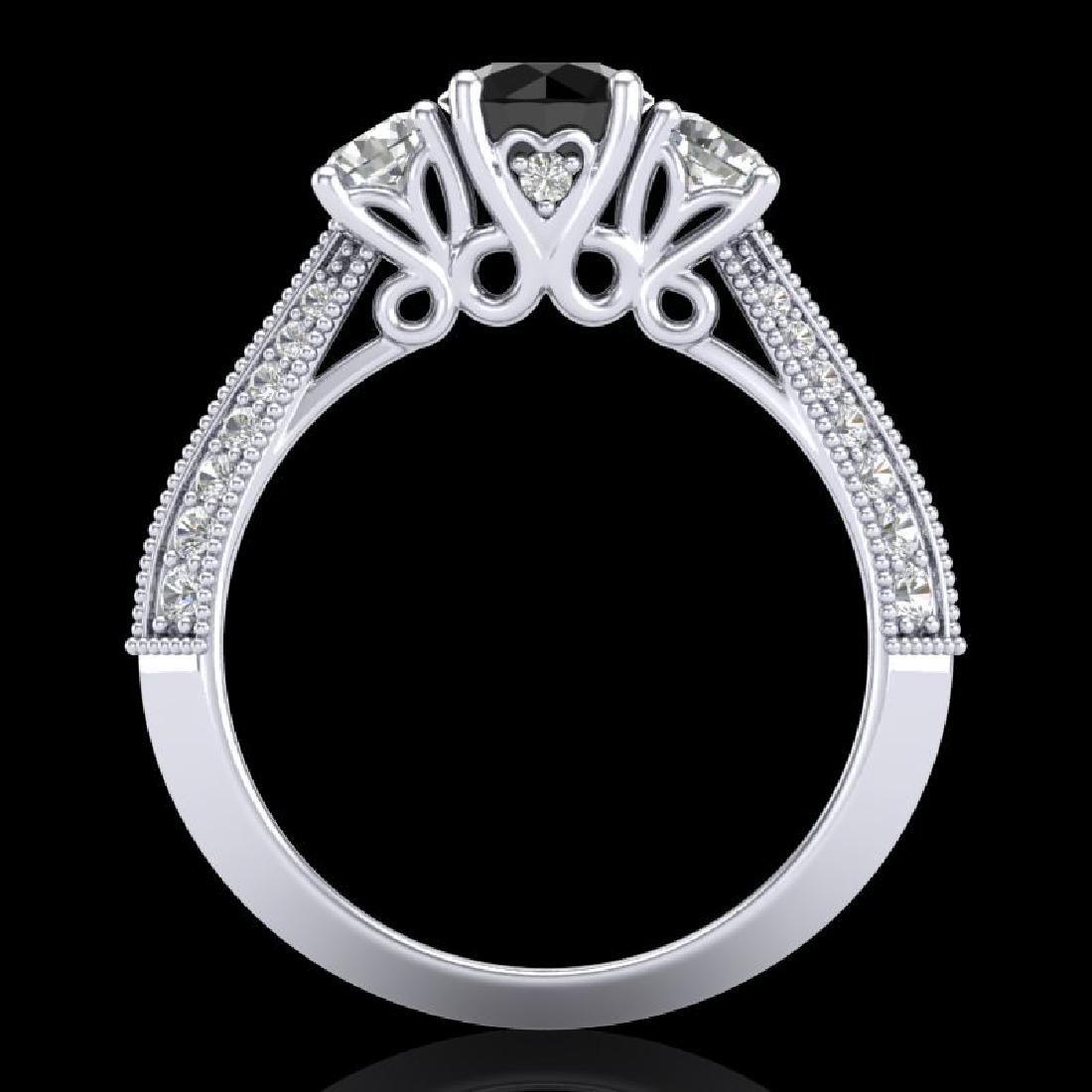 1.81 CTW Fancy Black Diamond Solitaire Art Deco 3 Stone - 3