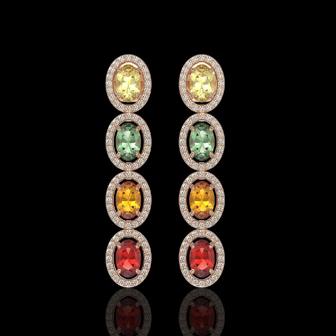 6.09 CTW Multi Color Sapphire & Diamond Halo Earrings