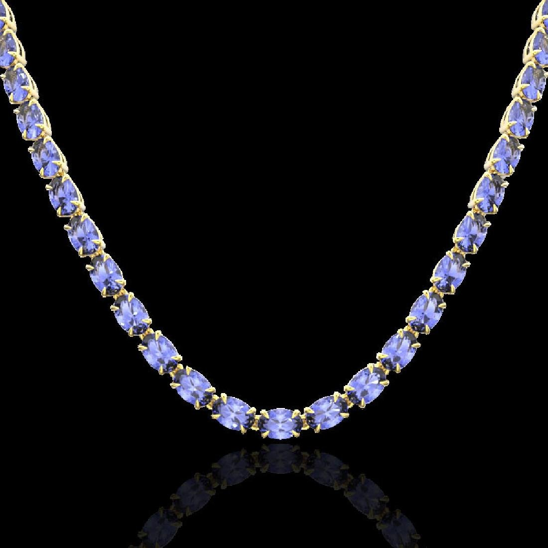 40 CTW Tanzanite Eternity Tennis Necklace 14K Yellow - 2